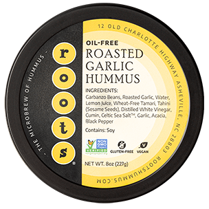 oil-free roasted garlic hummus by roots